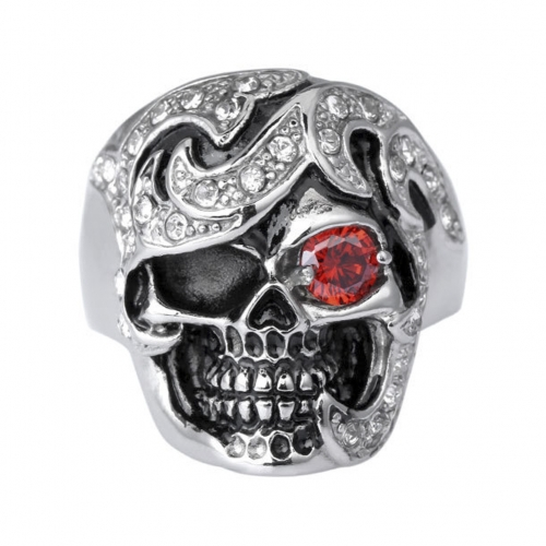 Hip Hop Bijoux Wholesale SilverMen Jewelry with Stones Punk Biker Rings Skull Couple Jewelry Accessories