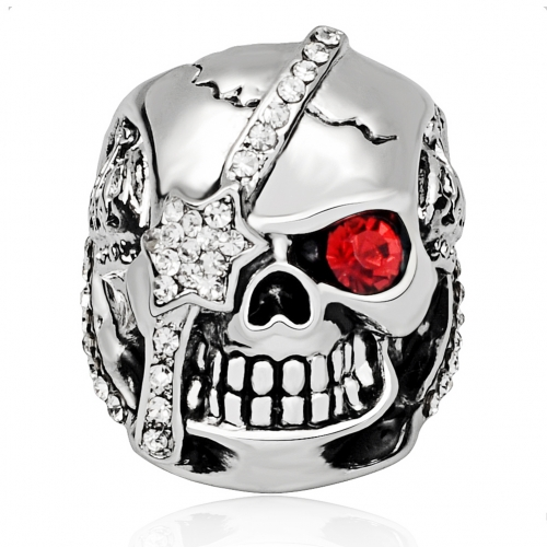 Graduation Fashion Design Gothic Punk Pirate Skull Silver Adjustable Rotating Party Bikers Rings Men's Jewelry with Stones