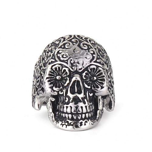 EVBEA Size 8~11 Mens Boys Silver Finger Rings Adjustable Punk Rock Roll Rings Polishing Hot Selling Skull Ring