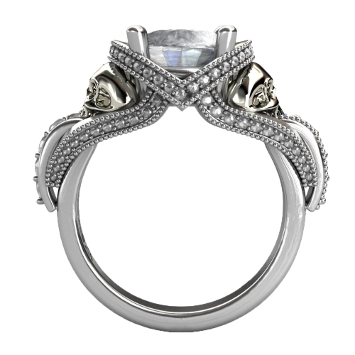 EVBEA Real Pure 100% 925 Sterling Silver Skull Wedding Rings Sets for Women